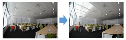 「DNP採光フィルム」の使用前(左)と使用後(右)の室内明るさの比較
