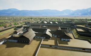 『国宝松本城VR』より、天守から城下を眺めた情景(製作・著作:松本市 制作:凸版印刷)