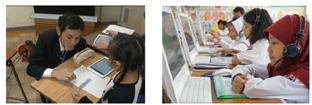凸版印刷(左)とすららネット(右)が提供するデジタル教材イメージ