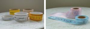 オリジナルテープのサンプル(左)、オリジナルリボンのサンプル