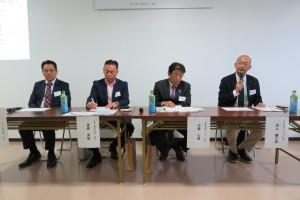 ネルディスカッション。右からファビオ井上社長、アインズ大森社長、北東工業東條社長、タケミ柴崎社長