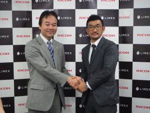 リコージャパンの武田取締役(左)とTBMの山﨑社長