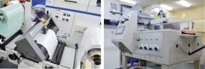 ロール給紙タイプのカッティングマシン(左)、シートカット機(右)