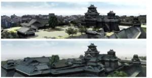 、今回新たに制作した被災前のVR再現(上)と、江戸時代中頃のVR再現(下)とを比較できる