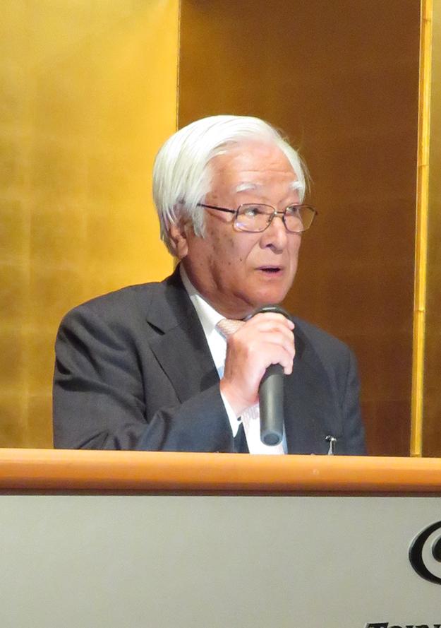 基調報告する小森コーポレーションの小森善治会長
