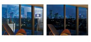 施工前(左)と低反射フィルムを窓ガラスの両面に施工後