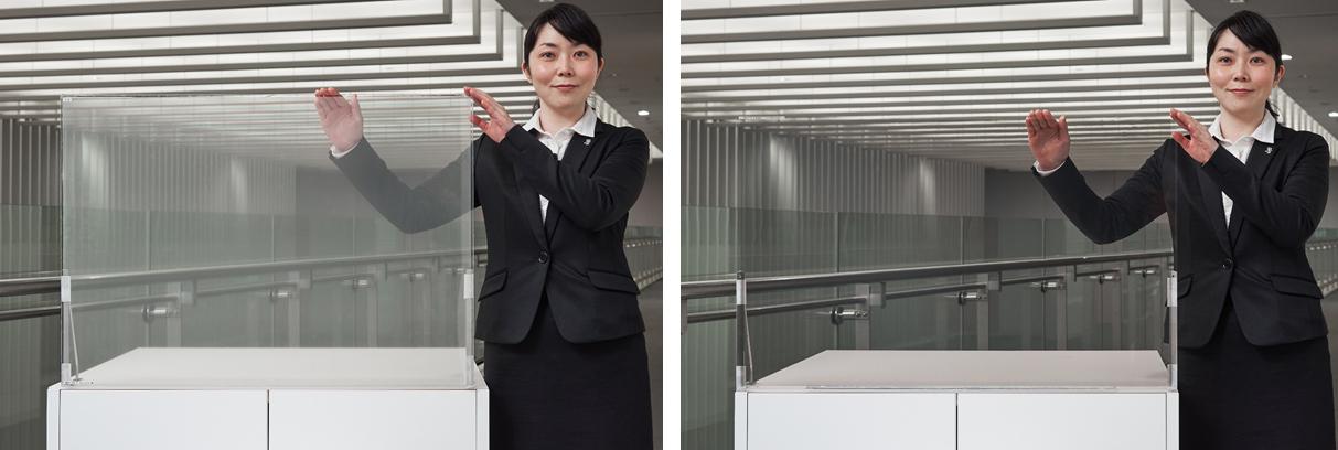 従来の透明スクリーン(左)、新発売の透明スクリーン(右)