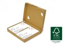 FSC森林認証紙を採用するとともに高さを抑えたメール便用名刺箱