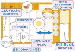 手帳型の特長(マンスリーページ)