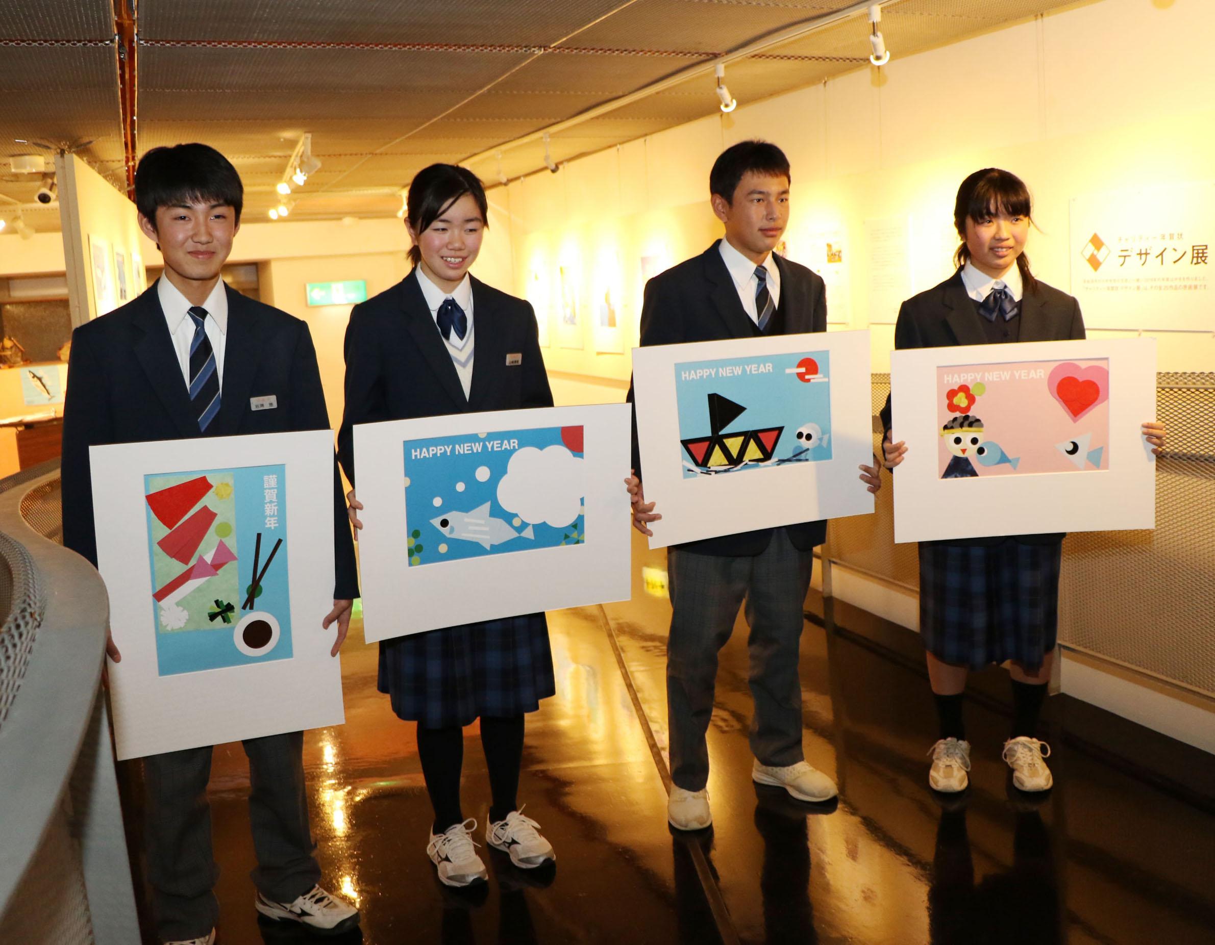 唐桑中学校代表生徒と作品