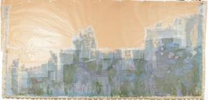 画布の上半分が欠損した発見時のクロード・モネ≪睡蓮、柳の反映≫(国立西洋美術館所蔵)