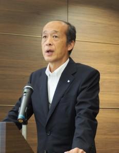発表するキヤノンPPSの井崎社長
