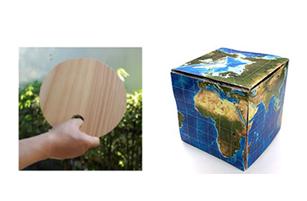 工作ワークショップの一例(「オリジナルの木のうちわを作ろう」左、「ペーパー地球儀を作ろう」右)