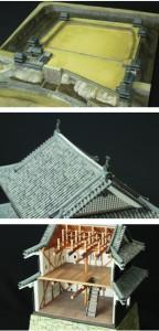 上から上田城跡地形全体、瓦・鯱瓦、内装