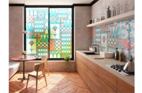 プリントガラスフィルム【フルカラー】×プリントタイル【内壁】使用イメージ