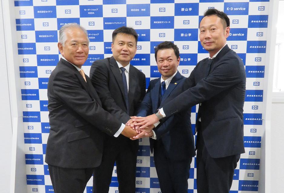 左からモトヤ古門社長、Hanway徐総経理、KDサービス池田社長、オーシャンテクノロジー福田社長