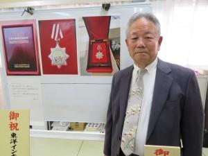 中国江蘇省から受けた江蘇省国際友城合作メダル
