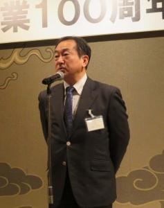祝辞を述べる東京グラフィックス菅野会長