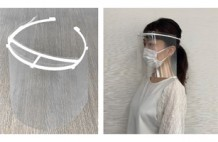 左:医療用フェイスシールド、右:装着イメージ