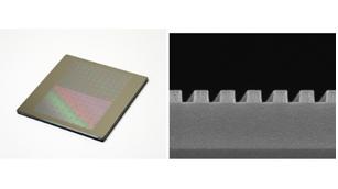 EUVリソグラフィ向け5nmプロセスに相当する高精度なフォトマスク(左)、パターン拡大写真(右)