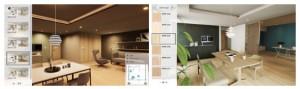 「5styles」による推奨コーディネートを選択(左)、床、建具、キッチン扉、クローゼットなどの表面材を個別に選択(右)