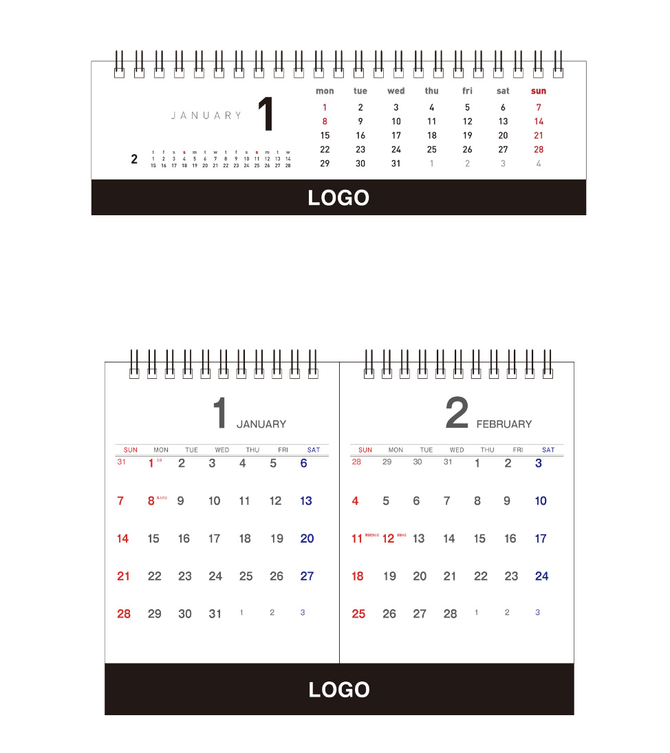 カレンダー、スリム&セパレート